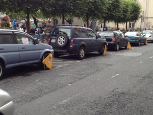 Row of Clamped Cars