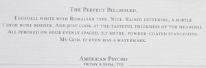 American psycho broadsheet a 2008 promo for american psycho by saatchi saatchi in auckland nz cleverly referencing one of the most memorable scenes in the movie reheart Image collections