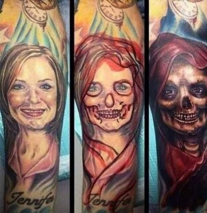 Girlfriend-tattoo-turns-to-skull-tattoo