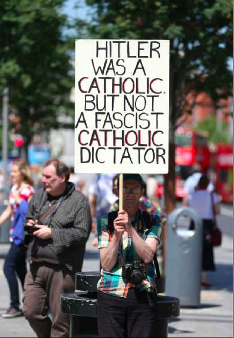 pro choicer at yesterday's pro life rally on O'Connell Street.
