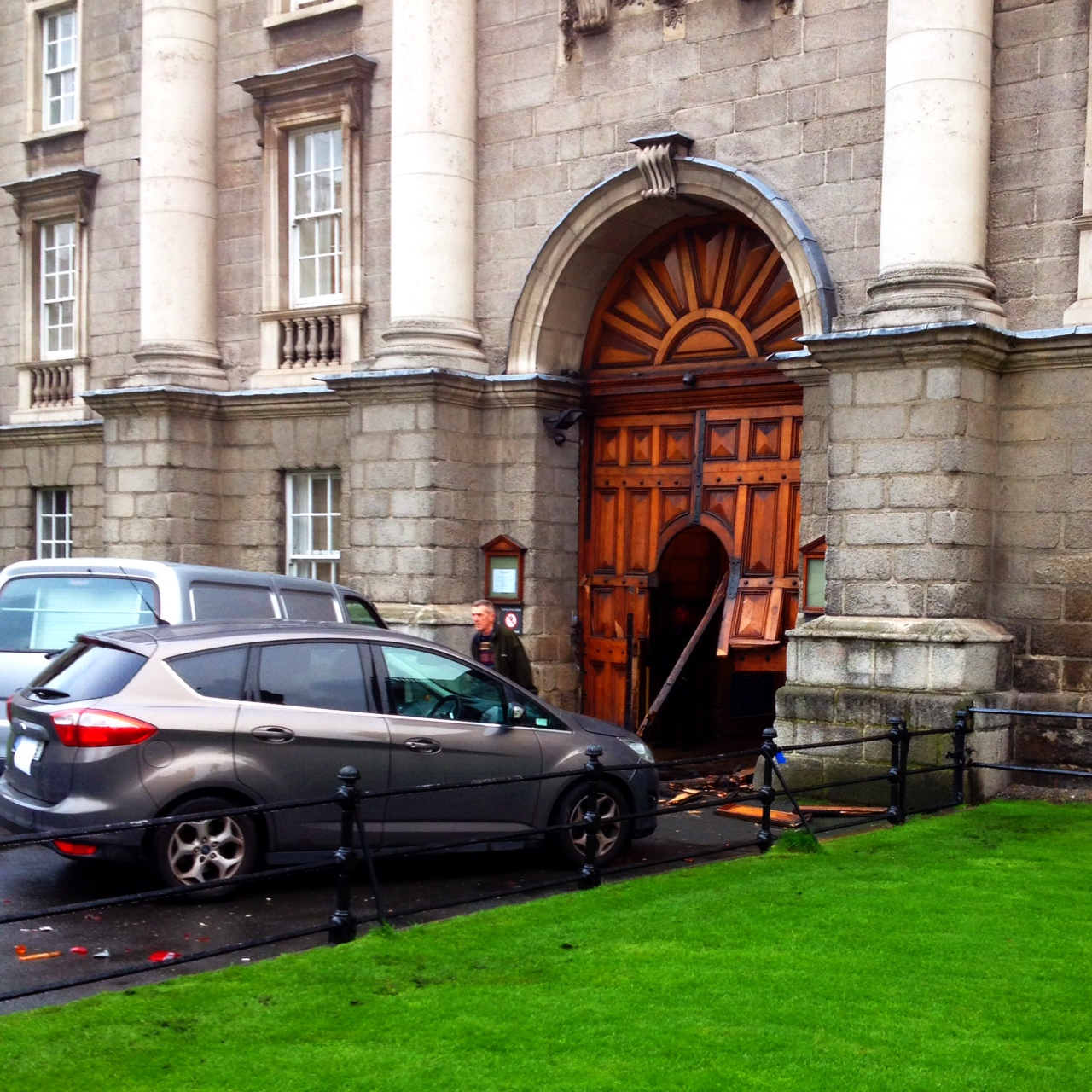 The front gate at Trinity College Dublin this morning. & Meanwhile At Trinity | Broadsheet.ie