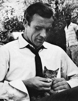 Sean-Connery-playing-with-a-cat-on-the-set-of-Dr.-No