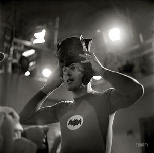Actors+Adam+West+and+Burt+Ward+on+the+set+of+the+movie+Batman+(2)