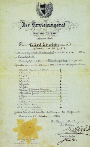 Albert+Einstein's+matriculation+certificate,+1896