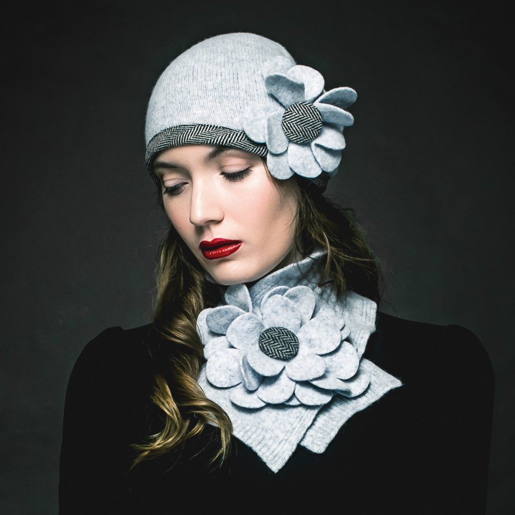 Floral Collar in Feather by Aine Knitwear