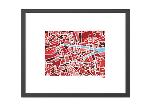 Cork Illustrated Map - Framed