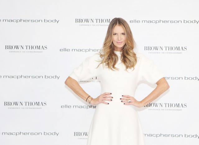 NO REPRO FEE. 28/10/2016. businesswoman and supermodel, Elle Macpherson, officially launched her new lingerie brand Elle Macpherson Body at Brown Thomas Grafton Street. Commenting at the media launch event in Dublin, Elle said: Im delighted to be back in Ireland to launch my new lingerie brand Elle Macpherson Body at Brown Thomas. Elle Macpherson Body is as much about attitude as it is about lingerie. I believe that true luxury is comfort and style and in designing the collection, I've paid close attention to detail, but I don't ever forfeit fit for fashion. The Elle Macpherson Body collection is available exclusively in Ireland at The Lingerie Rooms in Brown Thomas Dublin and online at www.BrownThomas.com. She is pictured Wearing Christian Dior dress 2,480 from Brown Thomas.Photo: Leon Farrell/Photocall Ireland.