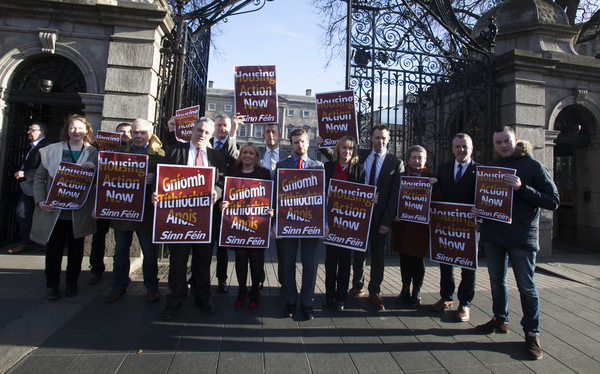 25/1/2017. Sinn Fein Housing Protests. Pictured are Sinn Fein TDs and Senators outside Leinster House in Dublin today. Sinn Fein held a protest to highlight the government's lack of action to tackle the housing crisis. Photo:Leah Farrell /RollingNews.ie
