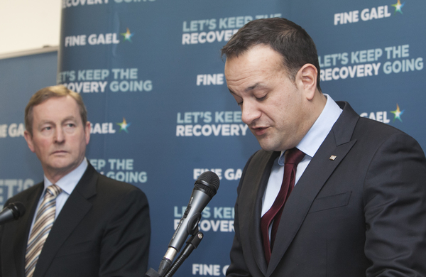 15/02/2016.Pictured (L to R) Leader of Fine Gael An Taoiseach Enda Kenny TD with Fine Gael Minister for Health Leo Varadkar at the Centric Health & HSE Primary Care Centre in Dublin today, at the launch of Fine Gael Plan for Health, Investing in Our Health Services. Photo: RollingNews.ie