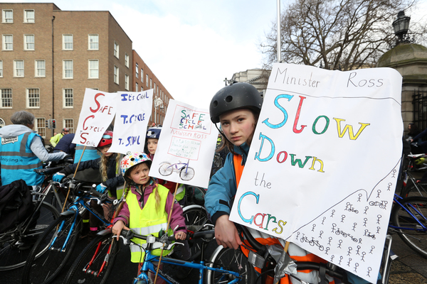 22/02/2017. Dublin Cycling Campaign. Pictured (LtoR) Zack (8), Jude (10) , Sally (6) and Meg North (12) from Cabra joined Cyclists who gathered outside Leinster House this afternoon to protest for more of the transport budget be allocated to cycling infrastructure in Dublin. The y claim about 1 % of the transport budget is allocated and they are asking for at least 10 %, campaigners say that EU recommends 20% given to cycling from transport budgets. Protesters are asking for more advanced traffic lights, better parking, segregated cycling lanes to name but a few. Photo: Sam Boal/Rollingnews.ie
