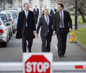 File Photo Fine Gael Leadership Crisis. It was highly significant that the two leading contenders to replace Mr Kenny,ÊSimon Coveney and Mr Varadkar, both addressed a meeting with an almost identical message. It was a simple and direct one: the party needed to be ready for anÊelection from now on. End.17/2/2010 Young Fine Gael Jobs Campaign launch. Fine Gael Leader Enda Kenny T.D., Leo Varadkar T.D., right, and Simon Coveney T.D., on the way to launching the Young Fine Gael's 'Working to Get You Working' campaign today (17/2/2010) outside the Dail. The campaign is aimed at pressuring the Government to implement Fine Gael's plan to get 30,000 young people off the Live Register this year. Photo. Mark Stedman/RollingNews.ie