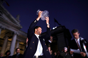 File Photo: Here We Go Again! After Irelands win against Italy, it seems no matter which way the game against France goes, the Irish football team, will ge getting a huge homecoming welcome, to compare with Italia 90. End. PAUL McGRATH RECEIVES PLAYER OF THE TOURAMENT IN COLLEGE GREEN DURING THE ITALIA 90 HOMECOMING 1/7/1990 Photo: RollingNews.ie