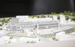 10/03/2017.New National Maternity Hospital. Pictured a model of St Vincents University Hospital and how the new building (White) will fit into the existing complex. Today the Minister marked the submission of the planning application for the new National Maternity Hospital on the St Vincents campus to An Bord Pleanala. Photo: Sam Boal/Rollingnews.ie