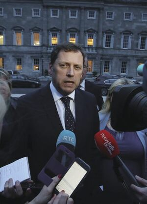 File photo. The Dail Committee on Water Charges approved its final report yesterday. End.11/04/2017. Right 2 Water Committee members. Pictured Barry Cowen reacting to the Final vote on the Draft Report of the Joint Committee on the Future Funding of Domestic Water Services outside Leinster House this evening.Photo: Sam Boal/Rollingnews.ie