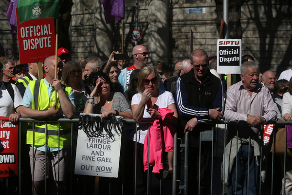 08/04/2017. Right 2 Water protest. Pictured thousands of people protest in Dublin city this afternoon against the charging of water. The Protest is trying to keep preassure on the Government to get rid of charging for water and the charges to be dropped against people who took part in water protests in the past. Photo: Sam Boal/Rollingnews.ie