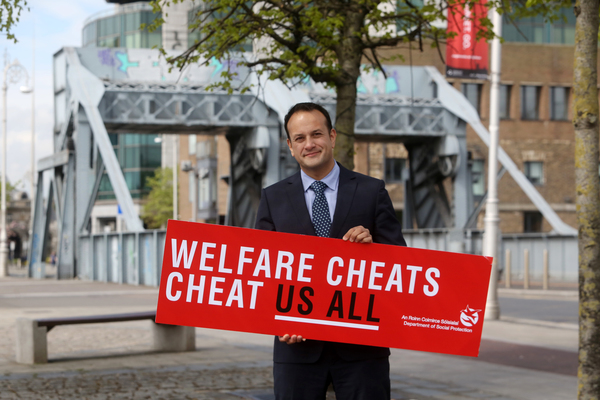 17/04/2017. Welfare Cheats Cheat Us All. Pictured the Minister for Social Protection Leo Varadkar TD at the launch of a new campaign entitled Welfare Cheats Cheat Us All. The Minister is urging the public to blow the whistle in wellfare fraud in Dublin this morning. Photo: Sam Boal/Rollingnews.ie