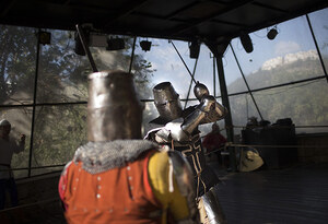 Medieval history enthusiasts fight in the ring