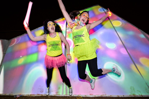 Revellers partaking in the 2014 Electirc Run (5k). RDS, Dublin.