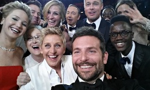 Ellen DeGeneres group selfie Guardian Oscars