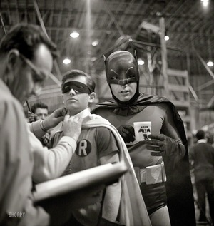 Actors+Adam+West+and+Burt+Ward+on+the+set+of+the+movie+Batman+(1)