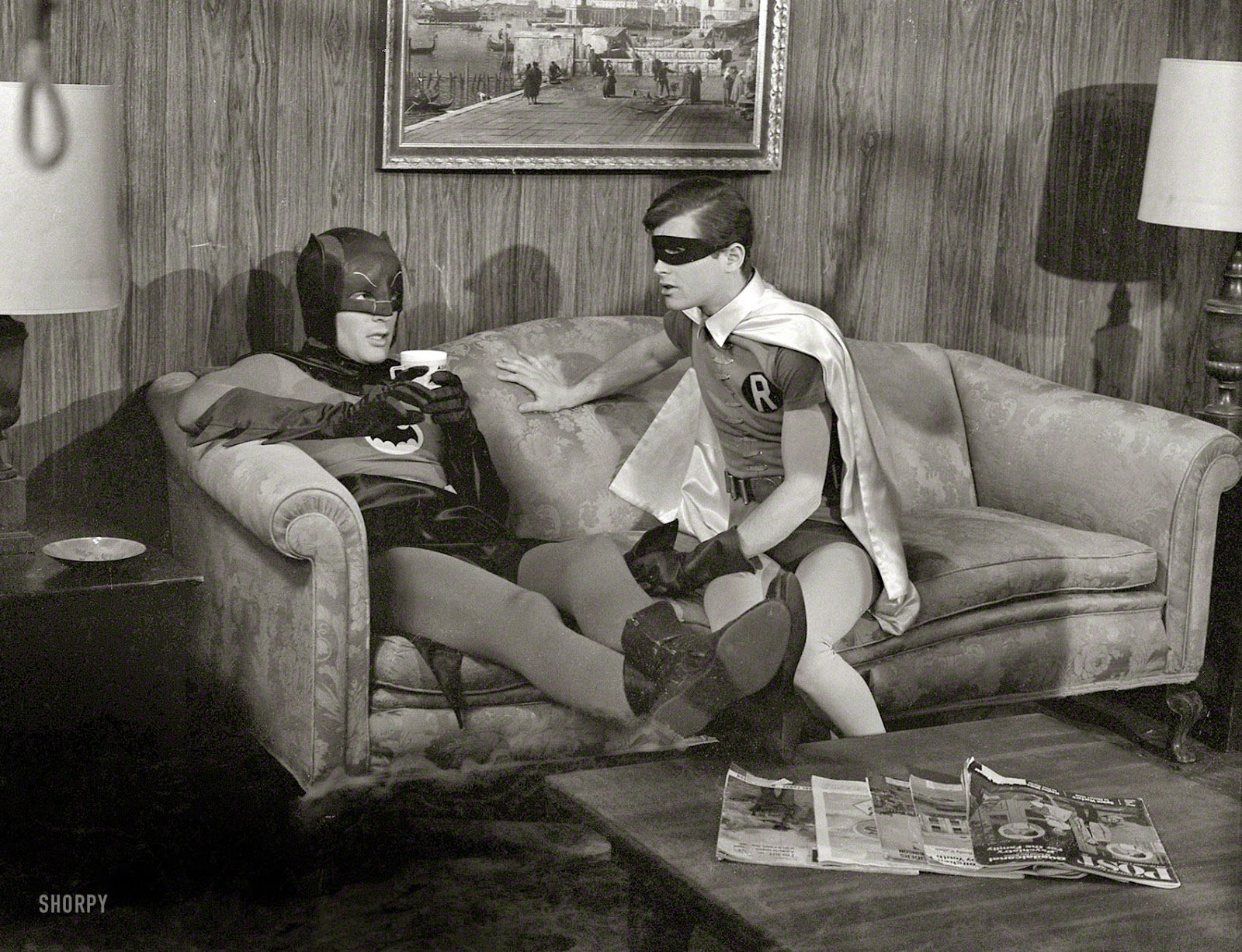 Actors+Adam+West+and+Burt+Ward+on+the+set+of+the+movie+Batman+(3)