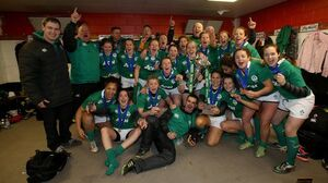Ireland players and management celebrate 22/3/2015