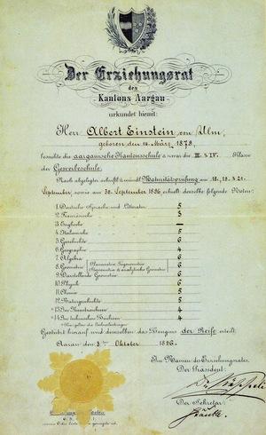 Albert+Einstein's+matriculation+certificate,+1896