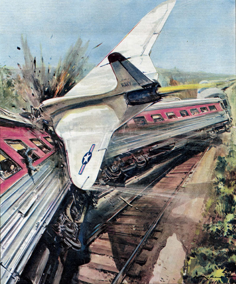 jet collides with train 1958