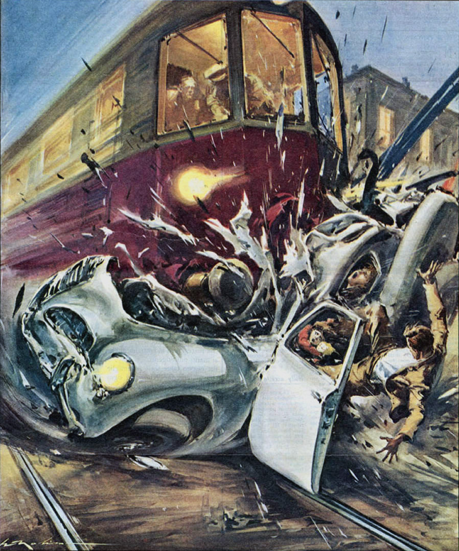 train hits car 1958