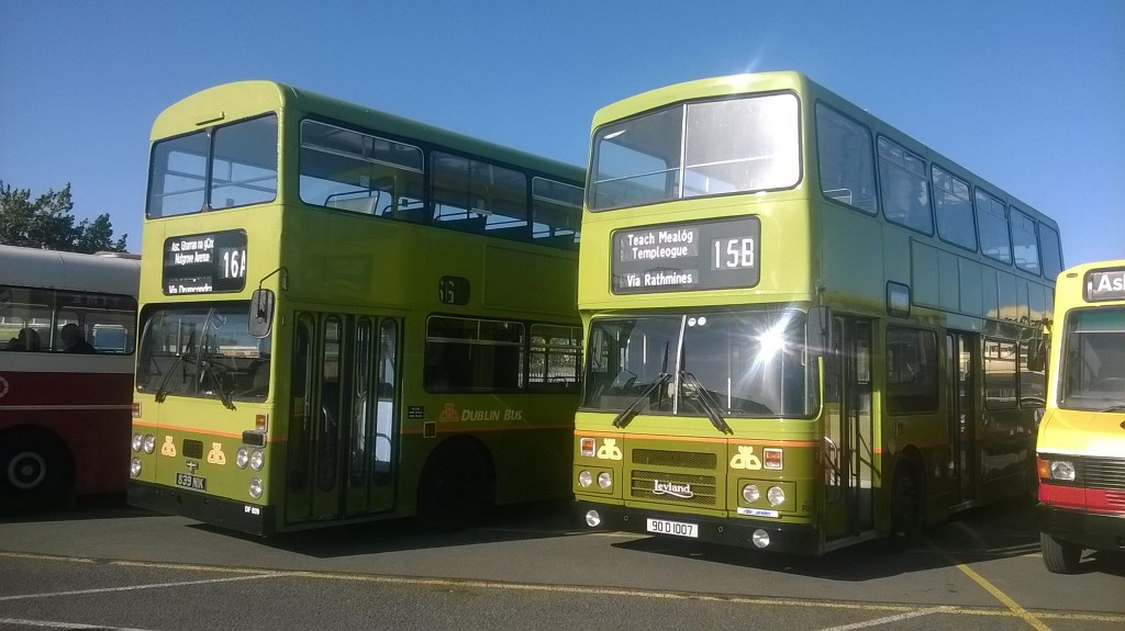 Two Green Dublin buses