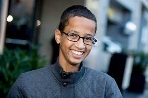 Ahmed Mohamed, the 14-year-old who was arrested at MacArthur High School in Irving, Texas for allegedly bringing a hoax bomb to school, speaks during an interview with the Associated Press, Monday, Oct. 19, 2015, in Washington. Mohamed is in Washington for a visit to the White House for White House Astronomy Night. (AP Photo/Andrew Harnik)