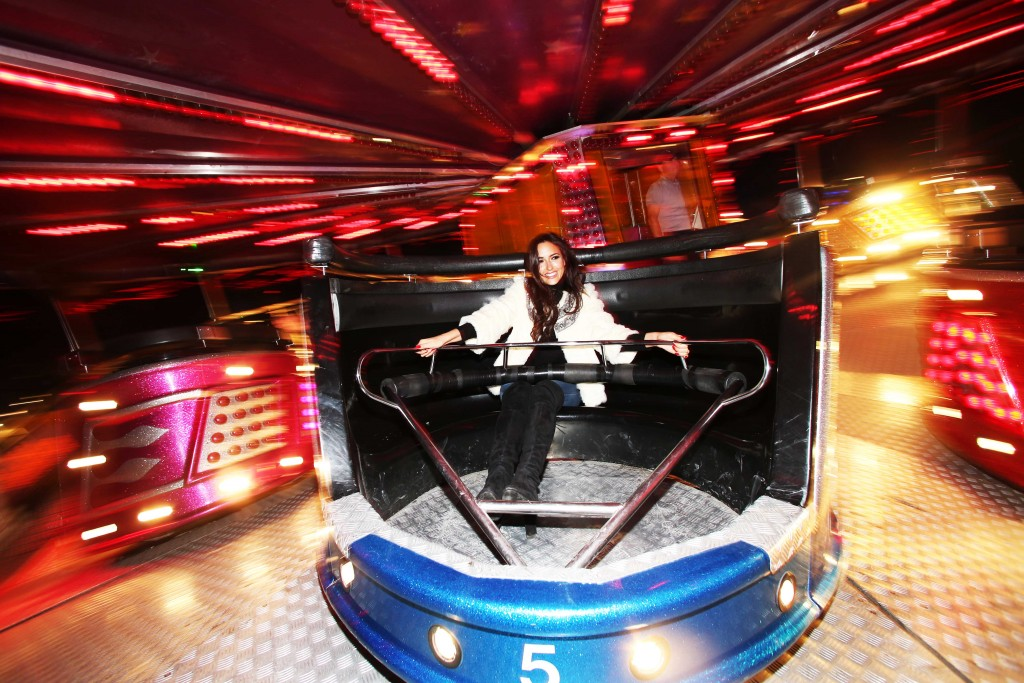 NO FEE PICS . 17/12/2015. Model Nadia Forde  having fun on the waltzers as she visited Winter Funderland in the RDS to officially launch one of Ireland`s family favourites for the festive season. In it`s 42nd year Winter Funderland will span across nine acres of the RDS, featuring age old funfair rides, Fossett`s Circus, Ice skating , a Continental Christmas Market a Santa Experience and some new funfair attractions have even been added to the bill for 2015. New attractions include the 'Break Dance'  the 'Frisbee' and the 'Funderland Loop' Ireland`s only looping rollercoaster . The funfair will stay opened until Sunday, 10th January 2016. Photo: Leon Farrell/Photocall Ireland.
