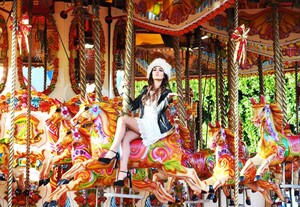 NO FEE PICS . 17/12/2015. Model Nadia Forde  sit a a horse carousel as  she visited Winter Funderland in the RDS to officially launch one of Ireland`s family favourites for the festive season. In it`s 42nd year Winter Funderland will span across nine acres of the RDS, featuring age old funfair rides, Fossett`s Circus, Ice skating , a Continental Christmas Market a Santa Experience and some new funfair attractions have even been added to the bill for 2015. New attractions include the 'Break Dance'  the 'Frisbee' and the 'Funderland Loop' Ireland`s only looping rollercoaster . The funfair will stay opened until Sunday, 10th January 2016. Photo: Leon Farrell/Photocall Ireland.
