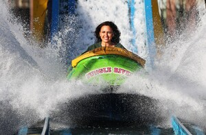 NO FEE PICS . 17/12/2015. Model/ Singer Nadia Forde gets splashed as she tries out the Jungle River  as she  visited Winter Funderland in the RDS to officially launch one of Ireland`s family favourites for the festive season. In it`s 42nd year Winter Funderland will span across nine acres of the RDS, featuring age old funfair rides, Fossett`s Circus, Ice skating , a Continental Christmas Market a Santa Experience and some new funfair attractions have even been added to the bill for 2015. New attractions include the 'Break Dance'  the 'Frisbee' and the 'Funderland Loop' Ireland`s only looping rollercoaster . The funfair will stay opened until Sunday, 10th January 2016. Photo: Leon Farrell/Photocall Ireland.