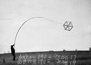 Cape Breton Island, Nova Scotia, Canada --- An Alexander Graham Bell experimental kite flies above a field. --- Image by © Bell Collection/National Geographic Creative/Corbis
