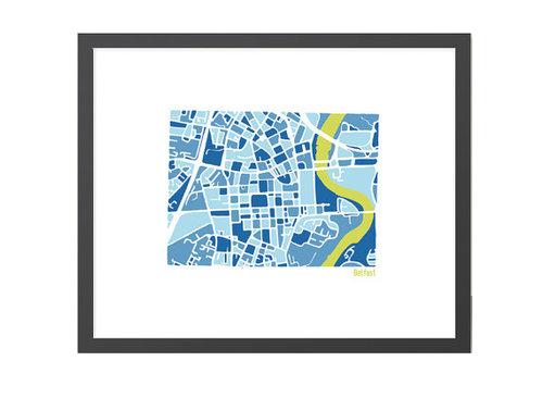 Belfast Illustrated Map - Framed