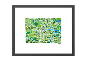 Dublin Illustrated Map - Framed