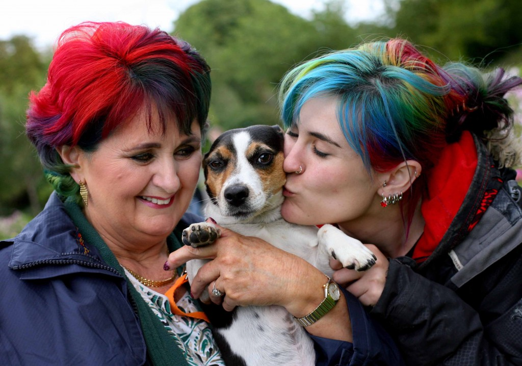 NO REPRO FEE 11/9/2016 Pictured are Tina, left, and Suzie Koumarianos with 'Stumpy' today at the 2nd annual Doggie Do with Dogs Trust which took place today at Dublin's Herbert Park. Photo: Mark Stedman
