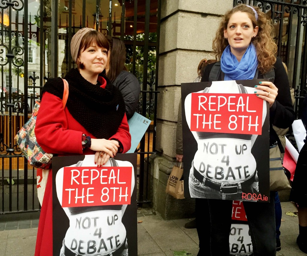 25/10/2016 Pictured are demonstrators at the Repeal the 8th protest outside the Dail in Dublin tonight, calling for the 8th Amendment on abortion to be repealed Photo: Eamonn Farrell / RollingNews.ie