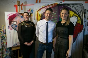 24.11.17 - Dublin: First Fortnight 2017 mental health arts festival programme launch. Pictured are artist Emma Sheridan; First Fortnight co-founder David Keegan; and Minister of State for Mental Health & Older People Helen McEntee in artist Emma Sheridan's studio. First Fortnight 2017 runs from January 1 to 14 aimed at challenging mental health stigma. Photo: Kieran Frost