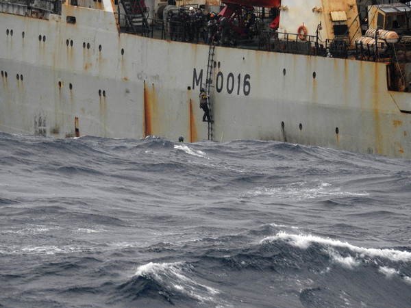 LÉ Roisin responded to a request to provide medical assistance and recover an injured fisherman approximately 200 nautical miles off Loop Head today. While on a Maritime Security and Defence patrol off the West coast, a distress signal was received by the LÉ Róisínregarding aninjured crew man onboard a Russian fishing vessel. The Russian fishing vessel requested any vessel in vicinity with medical facilities onboard to give assistance.The casualty on the Russian fishing vessel was a 34 year oldmale with suspected fractures of the thigh and shoulder, head injury and shock. Rescue Coordination Centre Valentia and Coast GuardHelicopter Rescue 115 responded as well as L.É. Róisín. L.É. Róisín was instructed to close the position of the casualty while thehelo operation was launched. L.É. Róisín transferred its medical and deck team onboard the fishing vessel, who assisted in providing medical care and managing the transfer of the casualty to the Coast Guardhelicopter. 22/2/2017 Photo Defence Forces/RollingNews.ie