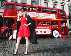 NO REPRO FEE 23/2/2017 Model Sarah Morrissey pictured at the official launch of the Dine in Dublin Taste Tour, Brought to you by Dublin Town. Dine in Dublin's vintage bus will travel to various locations across the city centre from Thursday 23rd to Wednesday 1st March, offering the public the chance to experience exciting cooking demonstrations and to sample from some of the festival's participating restaurants. For more information, visit www.dineindublin. ie #DineinDublin. Photo: Leon Farrell/Photocall Ireland.