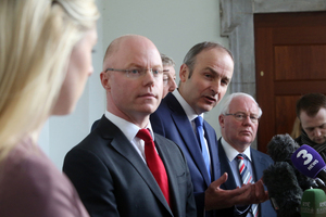 2/2/2017 Stephen Donnelly Joins Fianna Fail. Stephen Donnelly(Glasses) with party leader Micheal Martin as they talk to the media on The Portico, Leinster House. Stephen announced today he was joining Fianna Fail. he will be the party's Front Spokeperson on Brexit. Photo: Sam Boal/RollingNews.ie