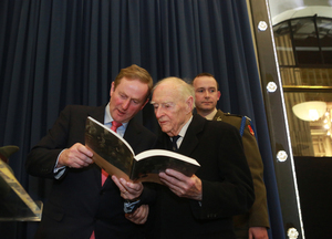 16/01/2014. Launch Online Of Military Service Material (1916-1923). Pictured (LtoR) An Taoiseach Enda Kenny TD, Former Taoiseach Liam Cosgrave and Commanding Officer P.Kennedy in charge of the Military Archives at the launch for the first time of Online Of Military Service Material (1916-1923) in the GPO in Dublin this evening. The Military Services Pensions Archive project is a conerstone in the Government Decade of Centenaries 2012-2022 Commemorative programme and the collection numbers of almost 300,000 application files for pensions. Photo: Sam Boal/Photocall Ireland
