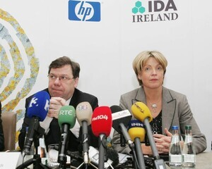 File Photo: Media sources are reporting that hundreds of jobs are at risk in the HP Inc plant in Leixlip in County Kildare. Staff are to be addressed by management in the morning. End.10/3/2009. Taoiseach and Fianna Fail leader Brian Cowen and Tanaiste and Minister for Enterprise Trade and Employment Mary Coughlan at the Merrion Hotel to announce that Hewlett Packard is to create 500 jobs at its base in Leixlip, Co Kildare. Photo:Leon Farrell/RollingNews.ie
