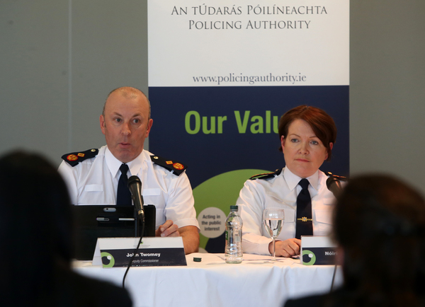 23/02/2017. Policing Authority . Pictured (LtoR) Assistant Garda Commissioner John Twomey and Garda Commissioner Norin O Sullivan speaking at the Policing Authority in the Griffith Conference Centre in Dublin this afternoon. Photo: Sam Boal/Rollingnews.ie