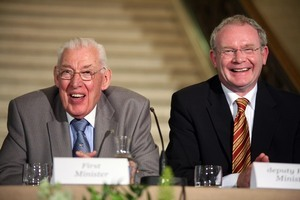 File Photo: This Monday will be a crucial day in the life of former Deputy First Minister and former leader of the Provisional IRA, Martin McGuinness as he faces into the latest crisis in the Northern Ireland Peace Process. End. 16/7/2007. Northern Ireland Deputy First Minister, Martin McGuinness, and First Minister, the Rev Ian Paisley, at the press conference at Parliament Buildings, Stormont (Belfast), after their meeting with British Prime Minister Gordon Brown. Pic. Albert Gonzalez/RollingNews.ie
