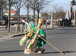 15/03/2017. St Patricks Festival 2017. Pictured St Patrick in Dublin this morning. Today St Patrick was in Dublin to launch the St Patricks Festival which will take place from 10:30 am tomorrow Wednesfday 15th March 2017. The festival runs from the 16th - 19th March. The theme this year is Ireland You Are. Photo: Sam Boal/Rollingnews.ie