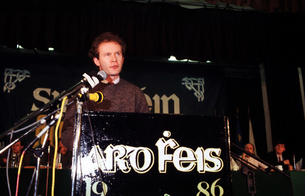 File Photo: Martin McGuinness Has Died. End. Martin McGuinness speaks in favour of the proposal to end abstentionism at the Sinn Fein Ard Fheis in the Mansion House in Dublin. The proposal was carried resulting in a minority of delegates, including former leader Ruairi O'Bradaigh walking out and setting up Republican Sinn Fein. 1986. Photo: Eamonn Farrell/RollingNews.ie