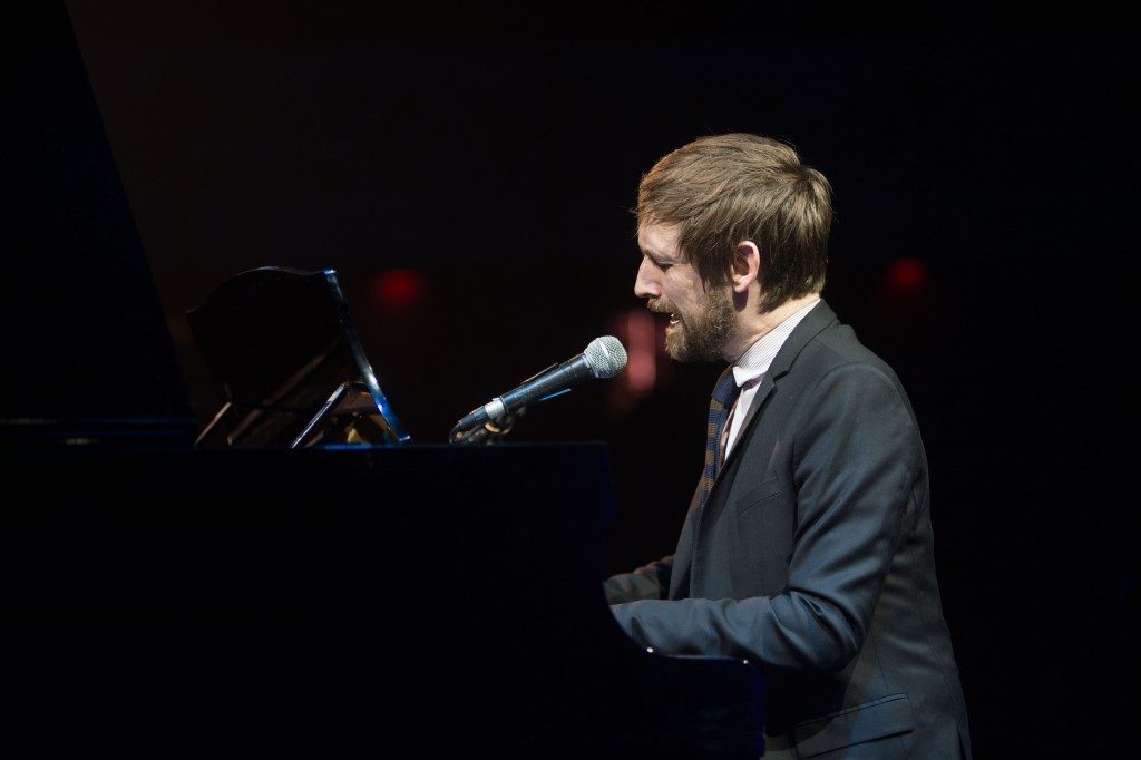 A portrait of Neil Hannon playing his piano at 'A Night In The Key of 8' hosted by the REPEAL Project in the Olympia Theatre, Dublin. Photography by Ruth Medjber www.ruthlessimagery.com